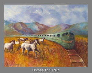 Horses and Train